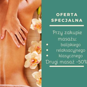 Oferta specjalna na masaże -50% na drugi zabieg !